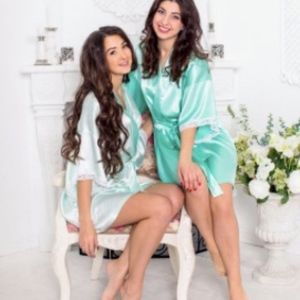 CLEAROUT SALE! Mint Satin & Lace Bridesmaid Robe